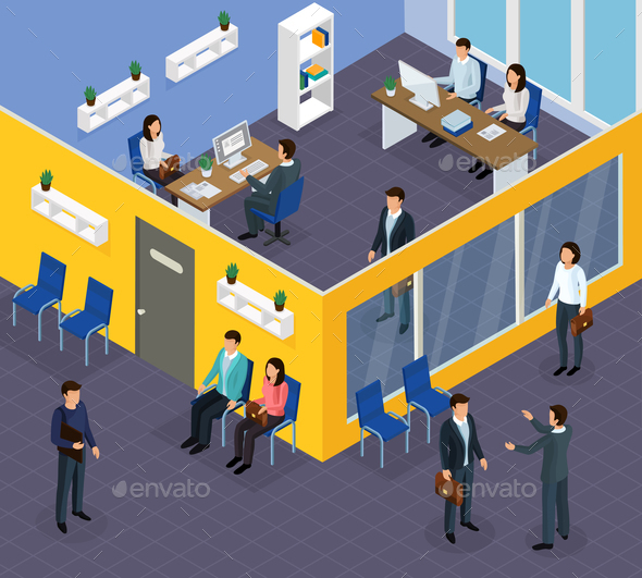Employment Recruitment Isometric Composition - Miscellaneous Vectors