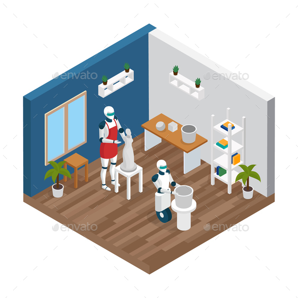 Creative Robot Isometric Composition - Computers Technology