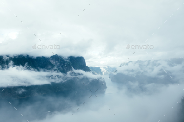 Stagastein viewpoint with panoramic views of the famous Aurlandsfjorden fjord - Stock Photo - Images