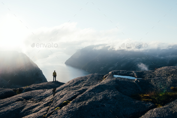 Misty morning on Preikestolen - Stock Photo - Images