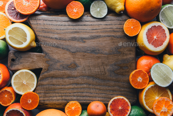 Mix of different citrus fruits closeup - Stock Photo - Images