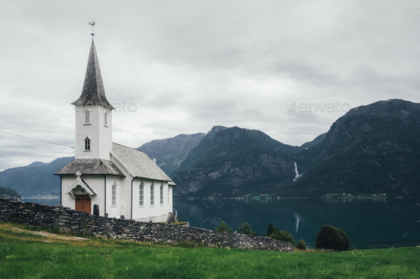 Typical christianity church in Norway - Stock Photo - Images