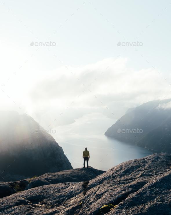 Misty morning on Preikestolen - Stock Photo - Images