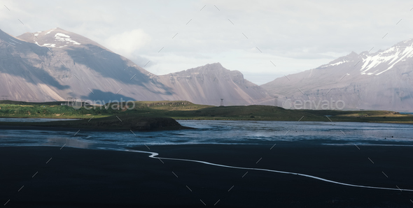 Typical Iceland landscape with road and mountains. - Stock Photo - Images