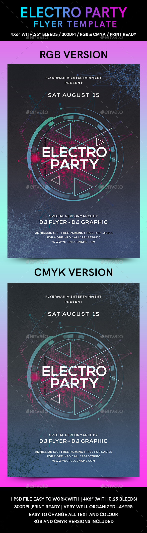Electro Party Flyer Template - Flyers Print Templates
