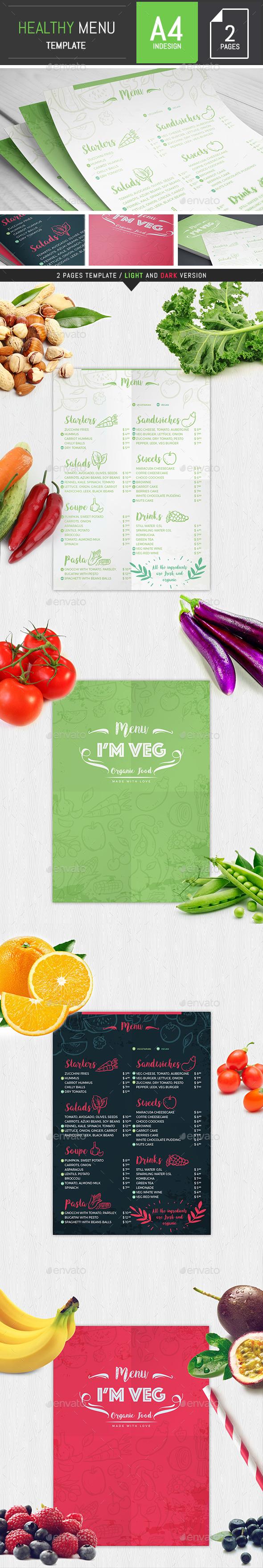 Healthy Food Menu Template - Food Menus Print Templates