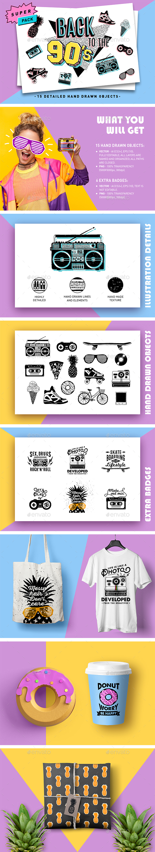 Back to the 90's. Hand Drawn Detailed Illustrations - Miscellaneous Graphics