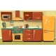 Vector Cartoon Kitchen Counter with Appliances