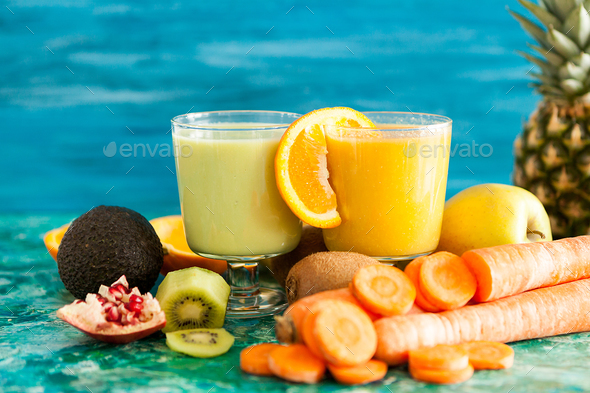 Front view of two glasses with detox smoothies - Stock Photo - Images