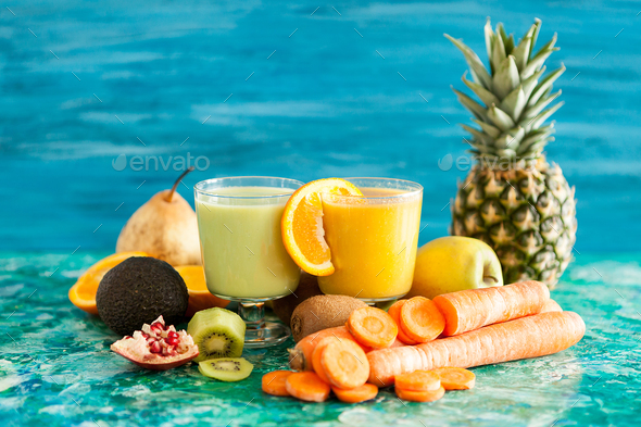Healthy and raw detox juices - Stock Photo - Images