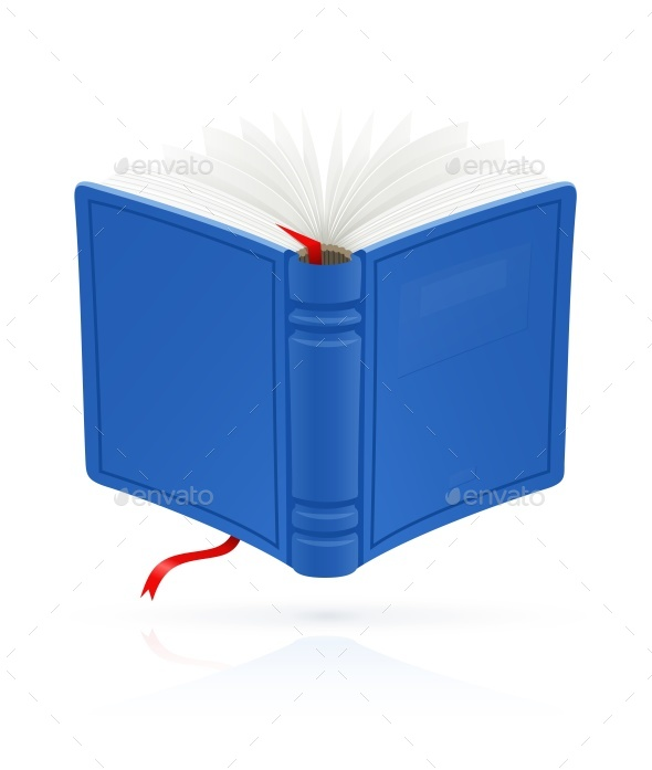 Blue Open Book with Red Bookmark Vector - Man-made Objects Objects