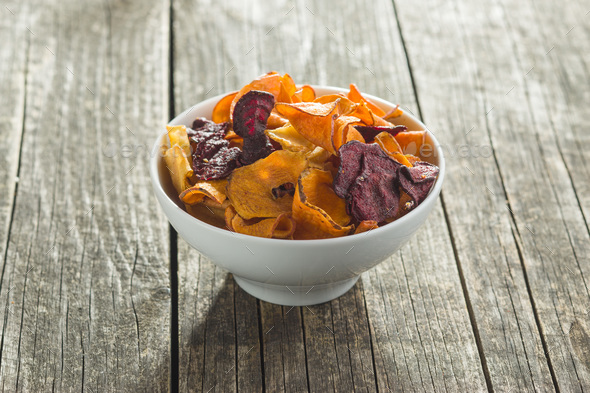 Mixed fried vegetable chips . - Stock Photo - Images