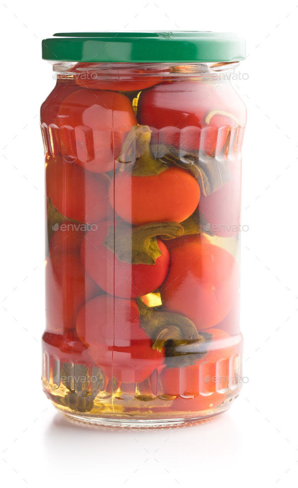 Pickled hot chili peppers. Marinated vegetable. - Stock Photo - Images