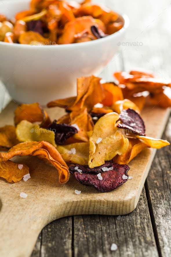 Mixed fried vegetable chips. - Stock Photo - Images