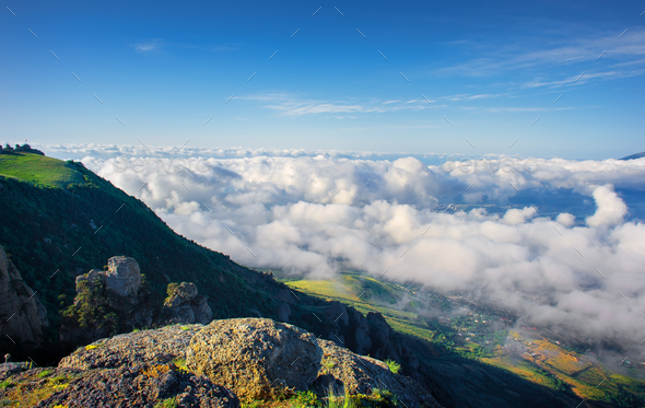 Clouds over the mountains - Stock Photo - Images