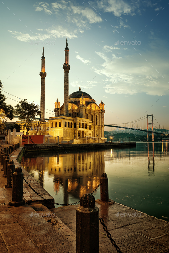 Mosque and Bosphorus bridge - Stock Photo - Images