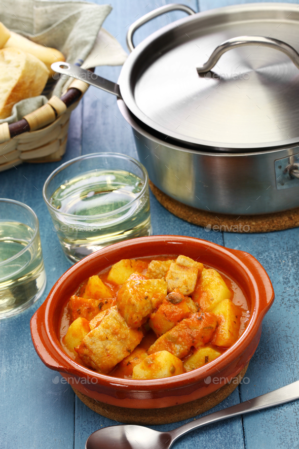 marmitako, tuna and potatoes stew,  spanish basque cuisine - Stock Photo - Images