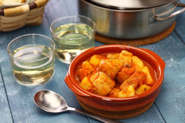 marmitako, tuna and potatoes stew,  spanish basque cuisine - Stock Photo - Images