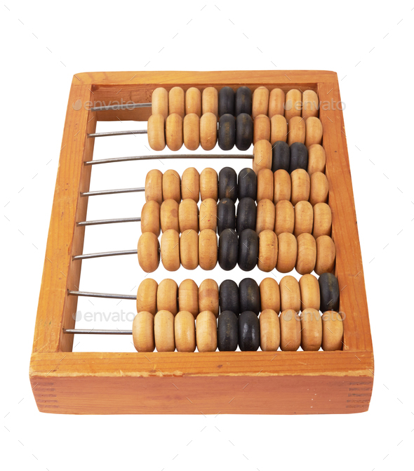 wooden abacus isolated on white - Stock Photo - Images
