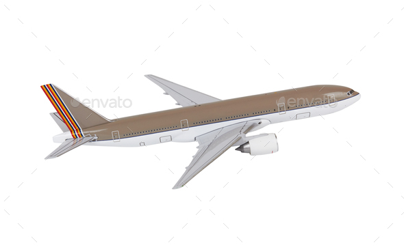 Toy airplane on white - Stock Photo - Images