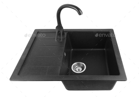 kitchen sink with tap - Stock Photo - Images
