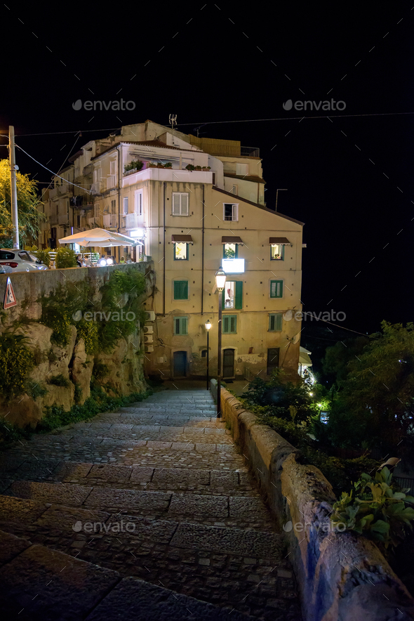 Buildings on a cliff in Tropea - Stock Photo - Images