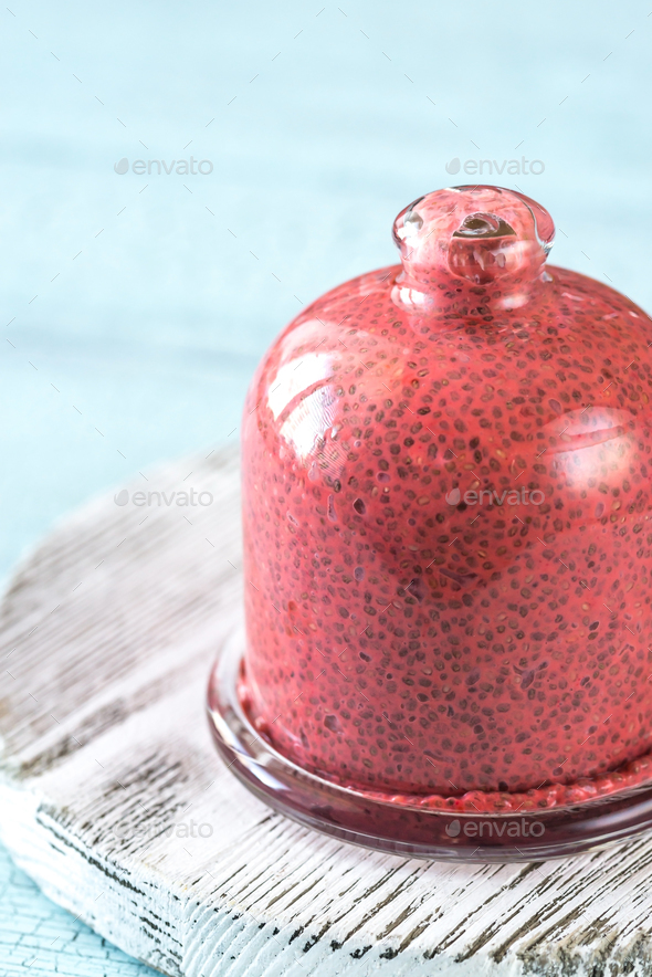 Strawberry chia seed pudding - Stock Photo - Images