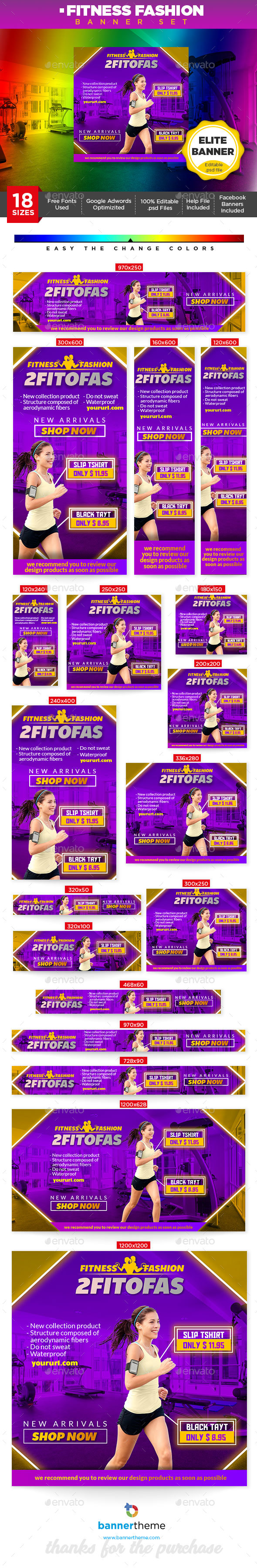Fitness Fashion Banner - Banners & Ads Web Elements