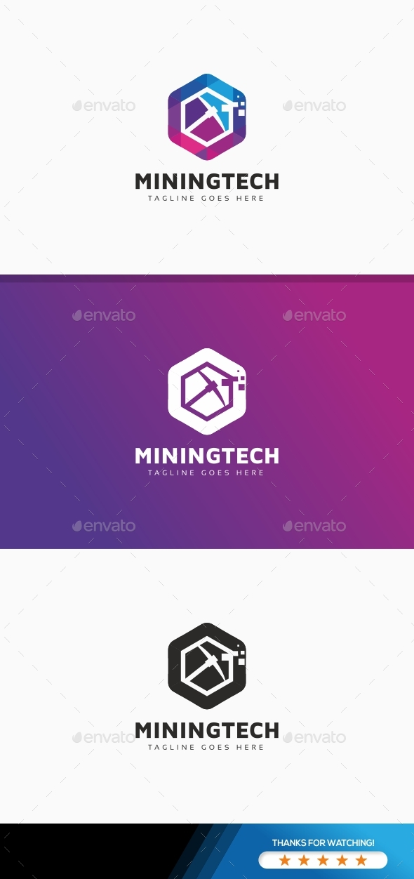 Bitcoin Crypto Mining Tech Logo - Symbols Logo Templates
