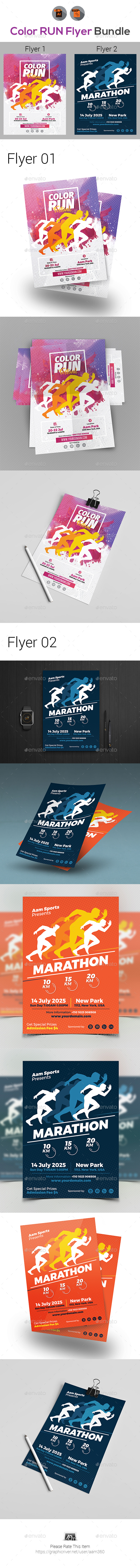 Color Run Festival/Marathon Event Flyer Bundle - Events Flyers