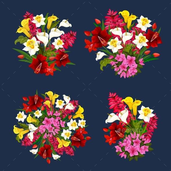Flower Bouquets Spring Floral Icons Vector Set - Flowers & Plants Nature