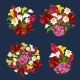 Flower Bouquets Spring Floral Icons Vector Set - GraphicRiver Item for Sale