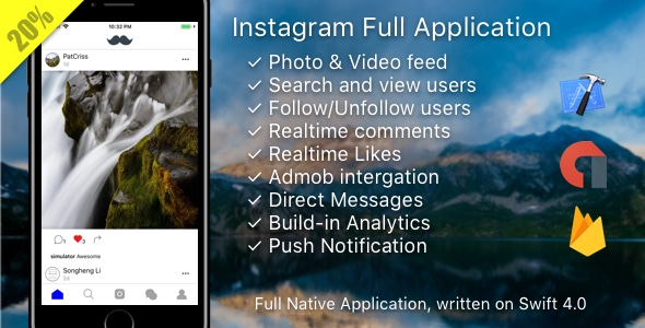Instagram Mobile Template + Messages + AdMob + PushNotifications + Web (Photo/Video) - CodeCanyon Item for Sale