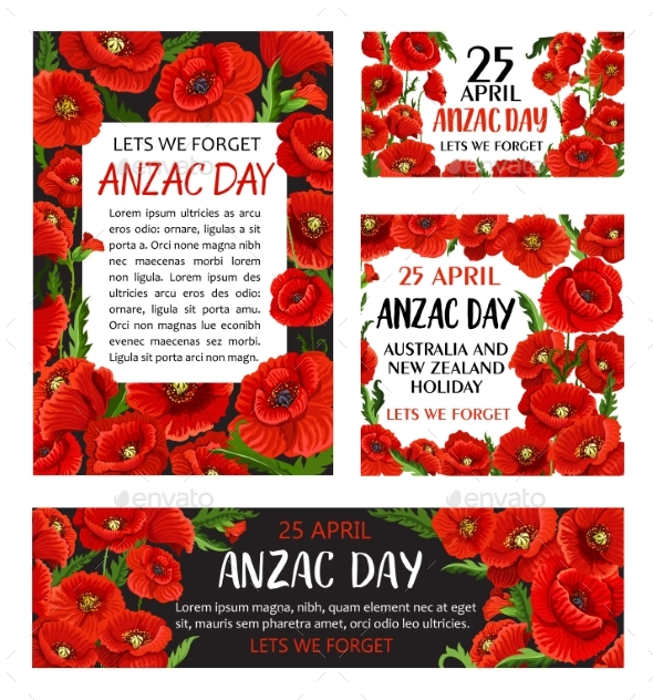 Anzac Day Poppy Flower Memorial Card Design - Seasons/Holidays Conceptual