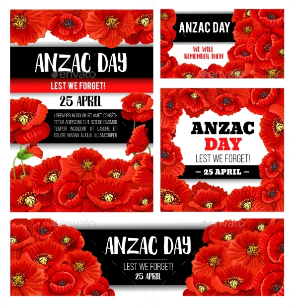 Anzac Day Memorial Banner with Red Poppy Flower - Seasons/Holidays Conceptual