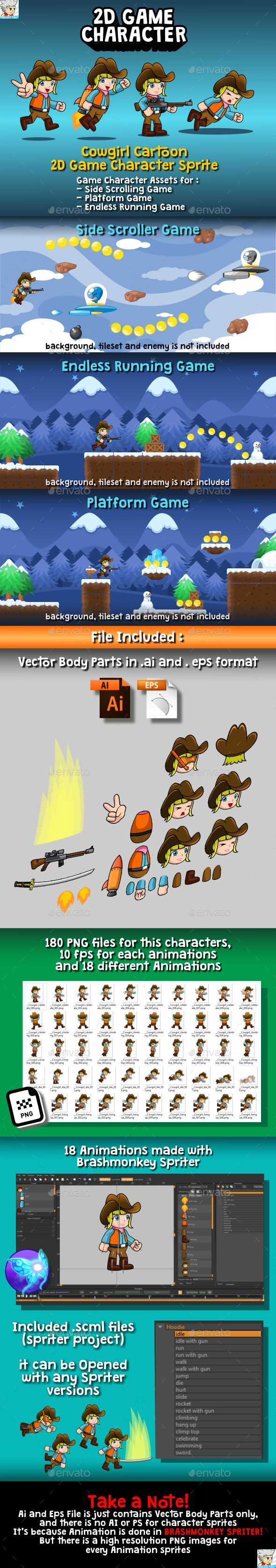 Cowgirl Cartoon 2D Game Character Sprite - Sprites Game Assets