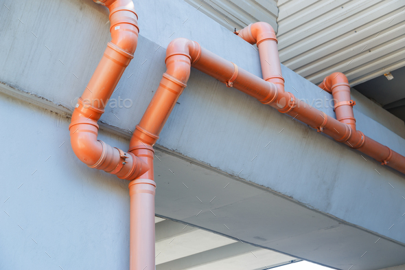 PVC drain pipe system of the bridge - Stock Photo - Images