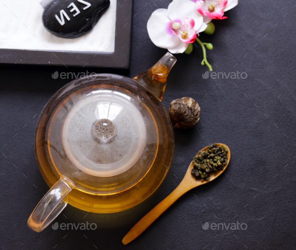 Green Tea in a Teapot  - Stock Photo - Images