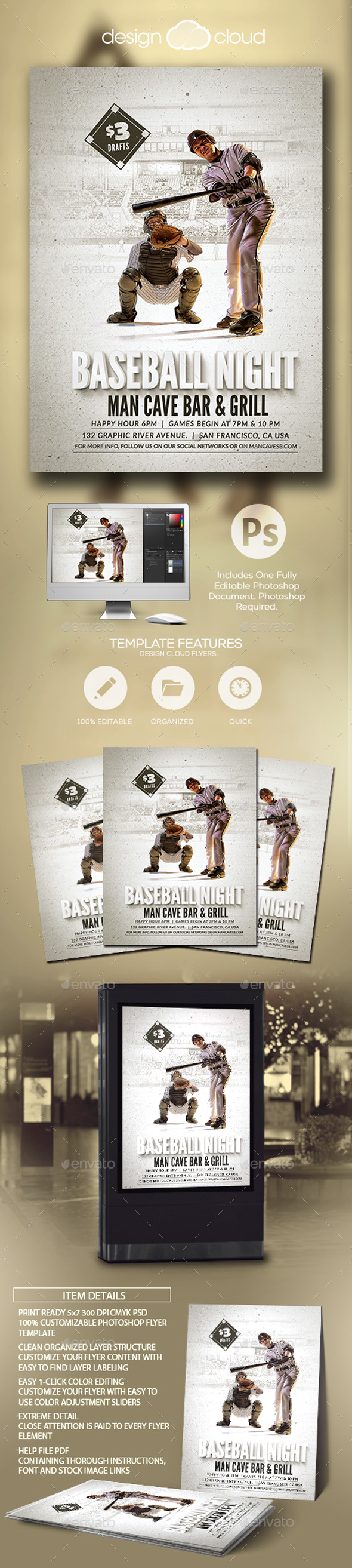 Baseball Nights Event Flyer Template - Sports Events