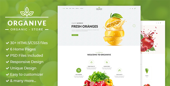 Organive is a clean HTML5/CSS3 template responsive design E-Commerce and Blog Template suitable for Organic Food, Organic Store,Farm Eco Food Products. You can customize it very easy to fit your needs.