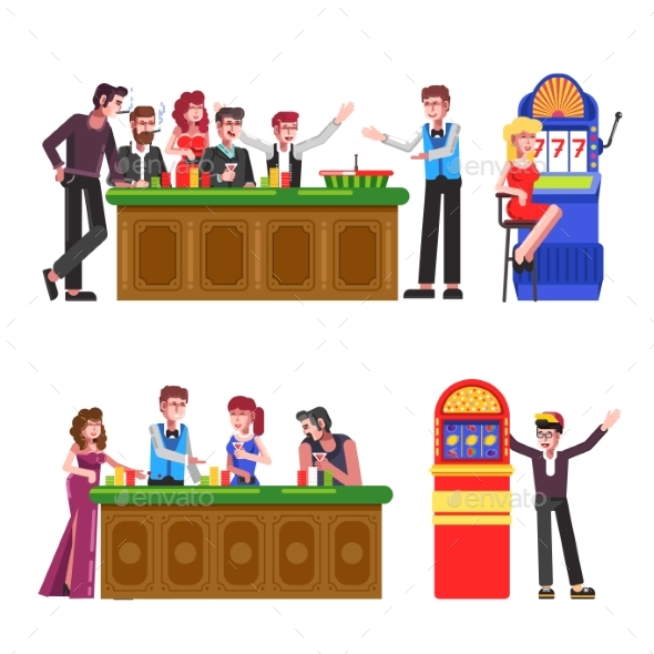 People with Cigarettes and Drinks at Casino Set - People Characters
