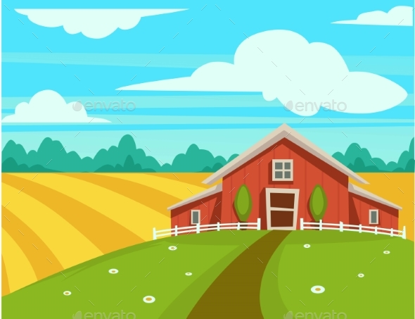 Farm House or Farmer Household Agriculture Scenery - Animals Characters
