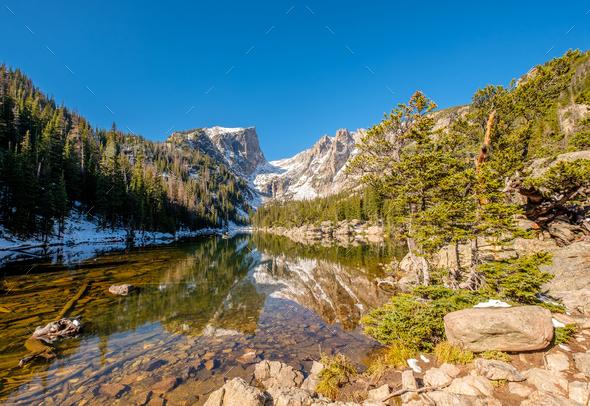 Dream Lake, Rocky Mountains, Colorado, USA. - Stock Photo - Images