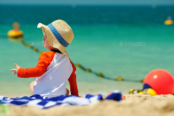 Two year old toddler boy beach - Stock Photo - Images