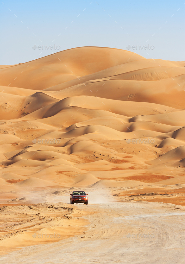 Driving Through The Empty Quarter - Stock Photo - Images