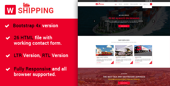 W-Shipping -The Multipurpose Shipping, Cargo and Logistics HTML5 Template - Corporate Site Templates
