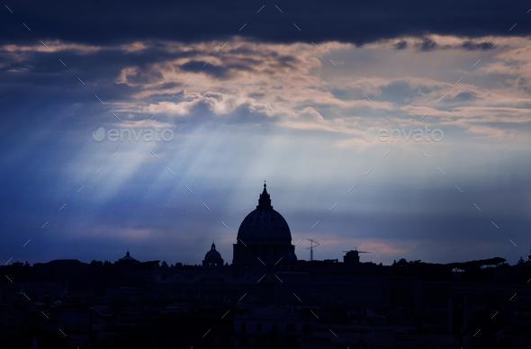 Saint Peter's basilica at dusk. Vatican city, Rome - Stock Photo - Images