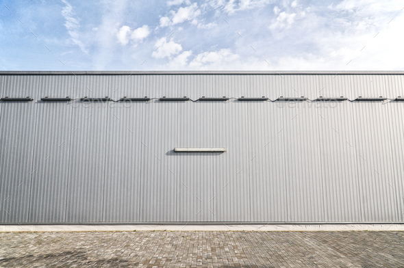 Metallic sheet on a modern industrial building - Stock Photo - Images