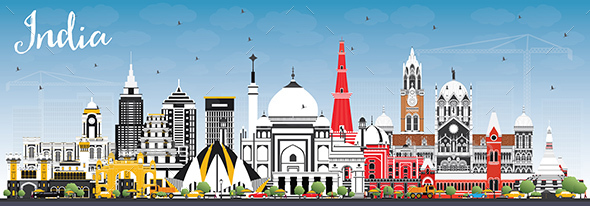 India City Skyline with Color Buildings and Blue Sky - Buildings Objects