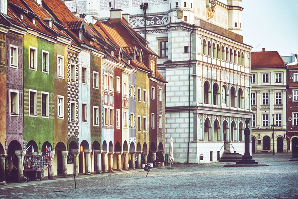 Main Square in the Poznan Old Town, Poland. - Stock Photo - Images